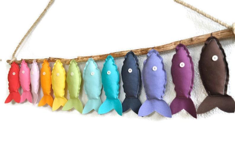 Twelve Rainbow Fish  Nursery Wall Decor image 0