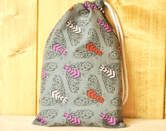 Drawstring Pouch - Reusable Gift Bag - Bee Print
