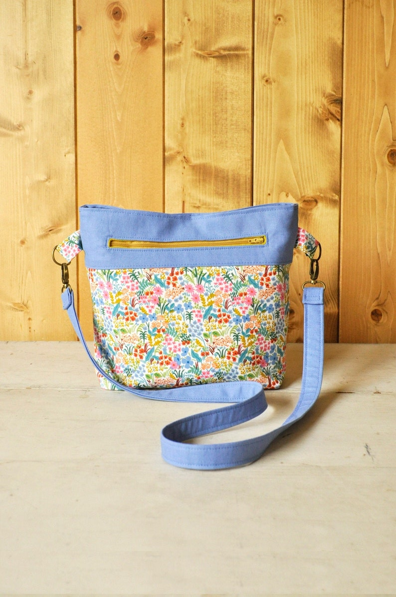 Convertible Cross-Body Bag in Colorful Floral Print and Blue image 0