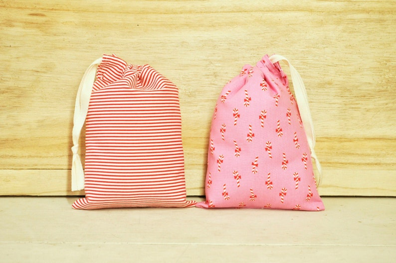 Drawstring Pouch  Reusable Gift Bag  Holiday Candy Canes and image 0