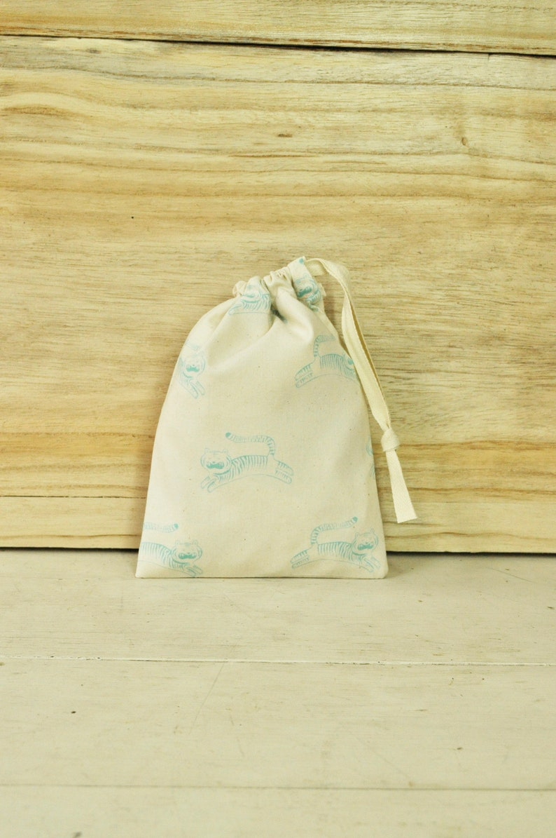 Small Drawstring Pouch  Reusable Gift Bag  Cute Tigers on image 0