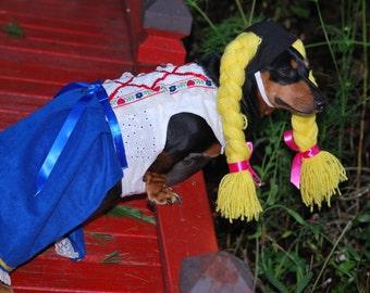 Little Gretel German girl  Drindl costume Halloween costume Oktoberfest costume dog costume pet costume cat costume hat dress