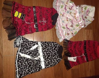4 dresses  only 1 of each left 4 for 25 dollars made and ready to ship size small