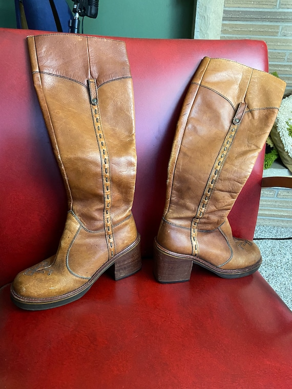 Vintage Brown Leather Boots - Platform Riding Boot