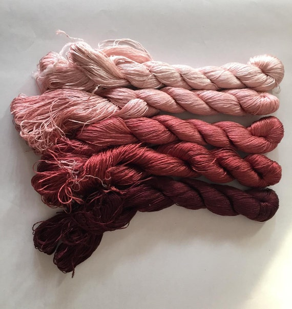 5 Skeins Hand Dyed 100 Natural Mulberry Silk Embroidery Floss Etsy