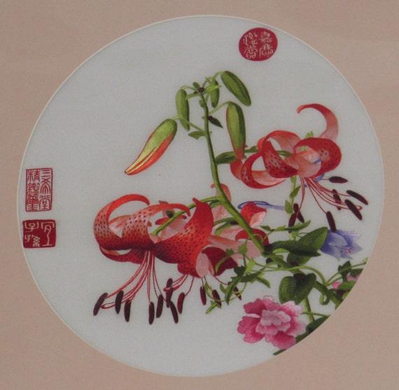 Chinese SuZhou Silk Embroidery FrameFLOWERS