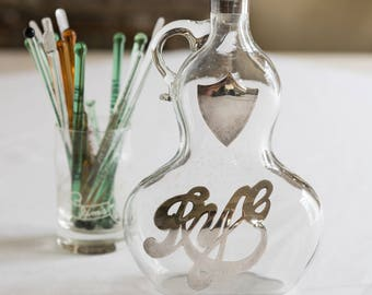 Vintage Hand Blown Glass Rye Decanter with Silver Overlay, Vintage Barware