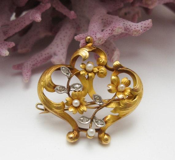 French Floral Rococo Gold Fill Chatelaine Pencil French Pendant Art Nouveau Victorian Antique Belle Epoque to restore No Mono