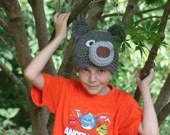 Gray bear hat - cute and unique handmade character hat made to look like a gray bear