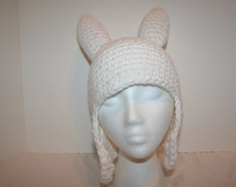 White hat with ear flaps and spikes - inspired by Fionna -  LARGE teen to adult size