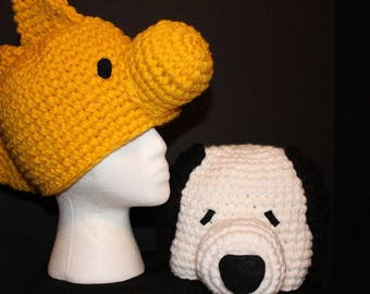 2 custom hats - teen to adult size - white dog with black ears and a golden bird hat - inspired by Snoopy and Woodstock
