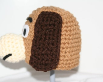 unique hats costume - 2 custom winter hats made to look like a brown dog - head and butt set - inspired by Slinky on Toy story