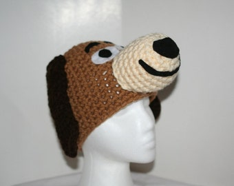 Baby to small toddler size hat -  unique winter hat made to look like a brown slinky dog - cute dog hat