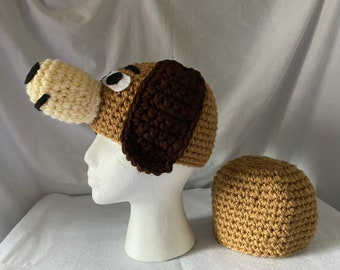 Adult couples costume  - 2 custom winter hats made to look like a brown dog - head and plain hat for butt - inspired by Slinky on Toy story