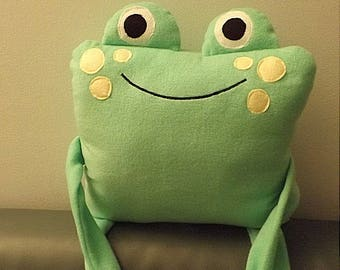 Frog plush pillow pet in soft green fleece