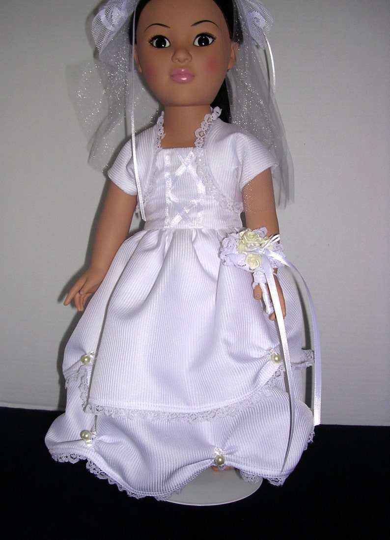 American Girl doll bridal gown with accessories