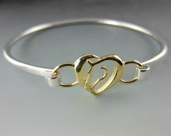 Silver and Gold Hearts and Horses Bangle Bracelet