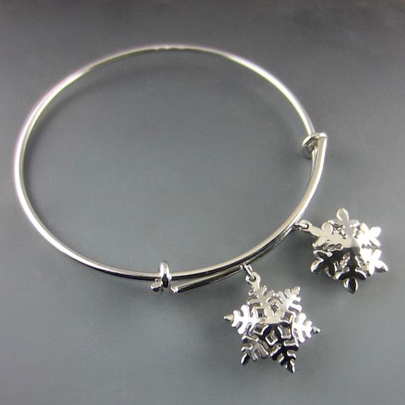 Two Charm Snowflake Expandable Bangle Bracelet/ Select Charms
