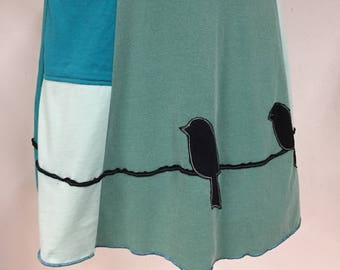 T-Skirt | upcycled, recycled green/blue t-shirt skirt with birds on a wire/branch appliqué + pocket