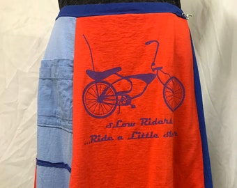 Original T-Skirt | Bicycle upcycled recycled t-shirt skirt + pocket | Size S