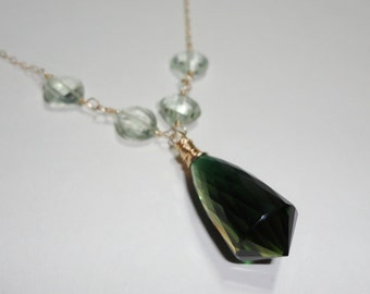 Green Yellow Citrine Necklace