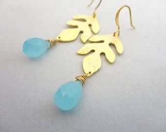 Golden Leave Raindrop Earrings