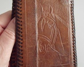 Vtg Tooled Leather Folding Wallet Billfold with HORSE and Initials WJE, Lacing, 5x3.75 in. Closed, 9.75x3.75 in. Open, Plastic Sleeves