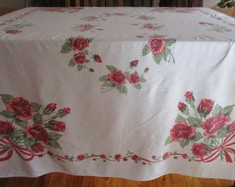 Vintage Tableclothe Linen Biege Norwegian Rosemale Pattern Tablecothe 48x 66