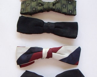 8f0cab97300a 7 Vintage Narrow Clip On Nerdy Bowties Assorted Colours