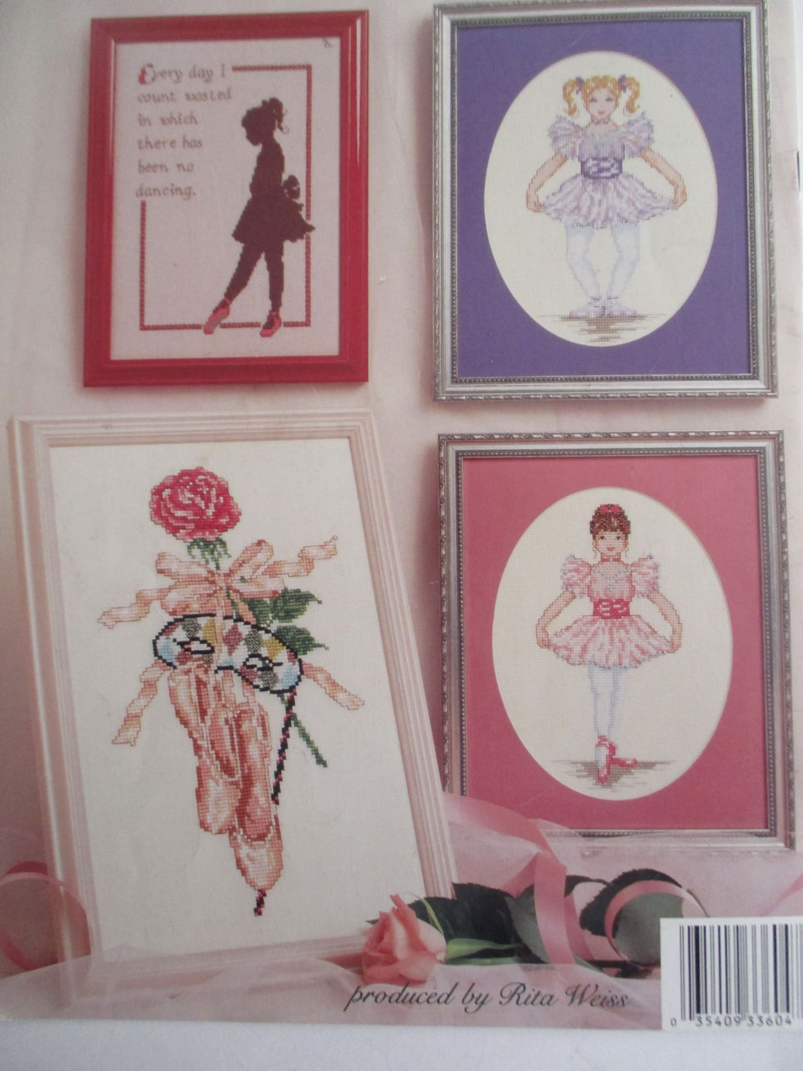 1992 ballet cross stitch booklet, 8 ballet designs counted x stitch charts, 17 pgs, american school of needlework 3604, by conn
