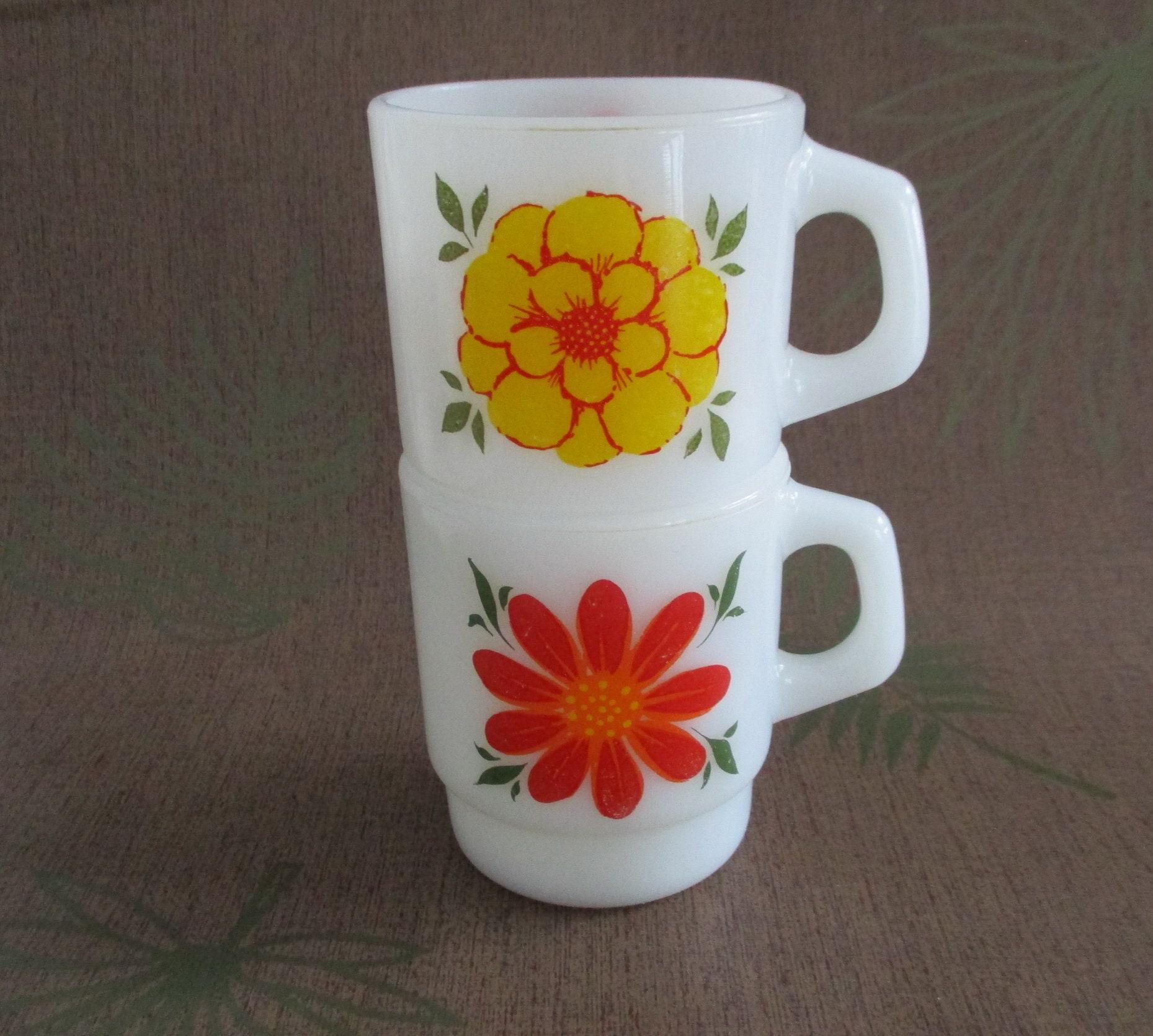 "3.5"" H x 3"" D Vintage Orange Milk Glass Mug White inside."