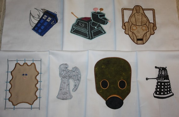Doctor who applique machine embroidered quilt blocks set d etsy