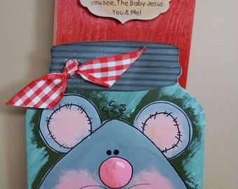 Christmas Mouse, Mason Jar, Paint, Paper