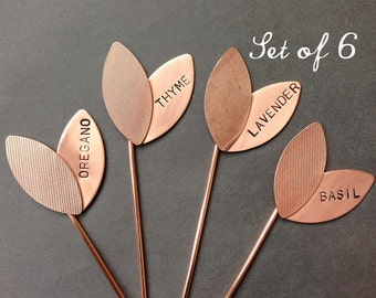 Large Sprout Herb Markers - Custom Set of 6 Garden Markers