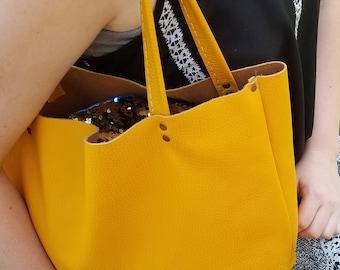 Goldenrod Yellow USA Leather Handbag Purse