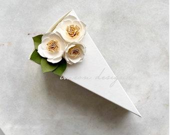 Cream colored cake box with cream flowers, 1 (one) favor box