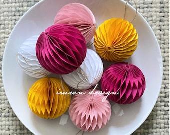 Paper ornaments, honeycomb decor, paper decorations,  you choose colors {set of 4}