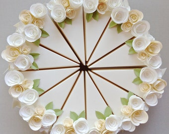 """PAPER cream colored cake boxes with cream and soft white flowers (12 slices). As seen in """"Celebrate Everything"""""""