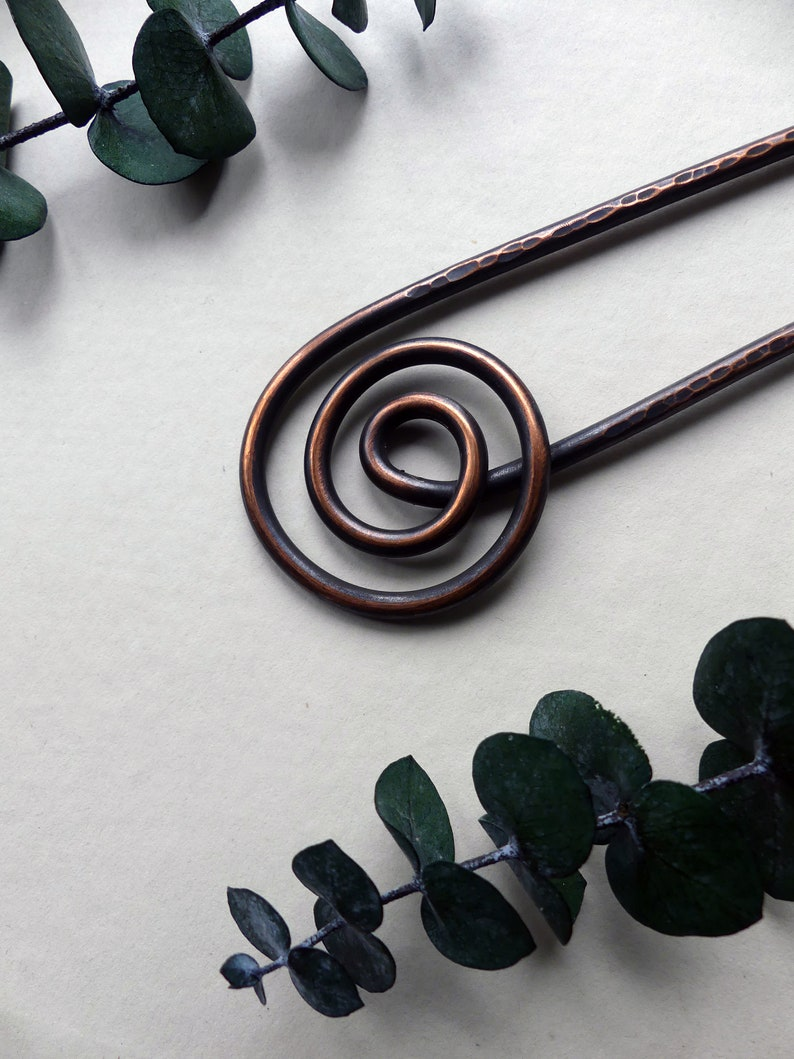 Spiral Copper Hair Fork one of a kind hair accessories