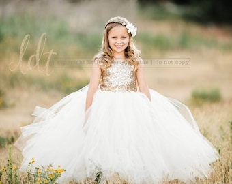 5aaa0daa6906 The Juliet Dress - Gold Sequin Bodice and Ivory Tulle - Flower Girl Dress