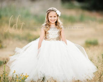 1e5d443d22f The Juliet Dress - Gold Sequin Bodice and Ivory Tulle - Flower Girl Dress