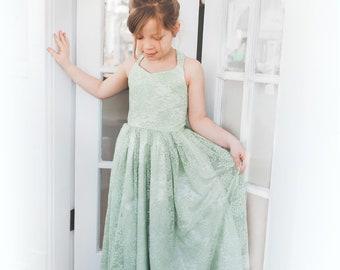 0066a12742d The Danielle Dress in Lace - Sage Green - Flower Girl Tutu Dress