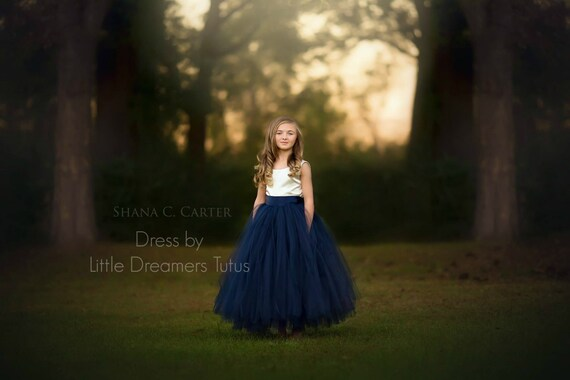 The Juliet Dress in Ivory and Navy - Flower Girl Tutu Dress
