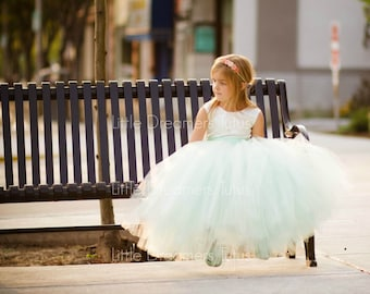 The Juliet Dress in Ivory and Mint Green - Flower Girl Tutu Dress