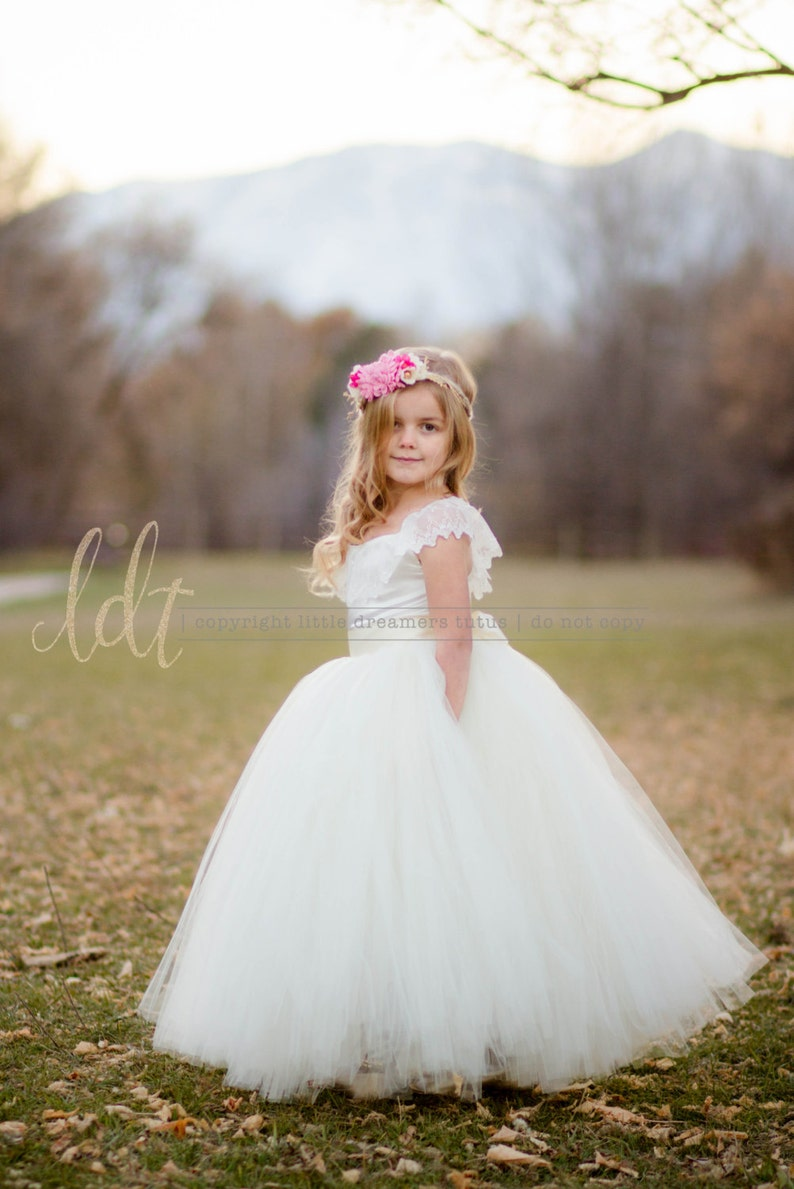 Flower Girl Tutu Dress The Everly Dress in Ivory NEW