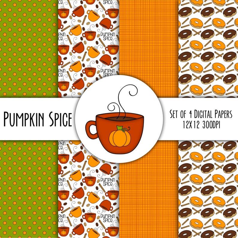 Pumpkin Spice Hand Drawn Digital Paper Mini Pack  Set of 4  image 0