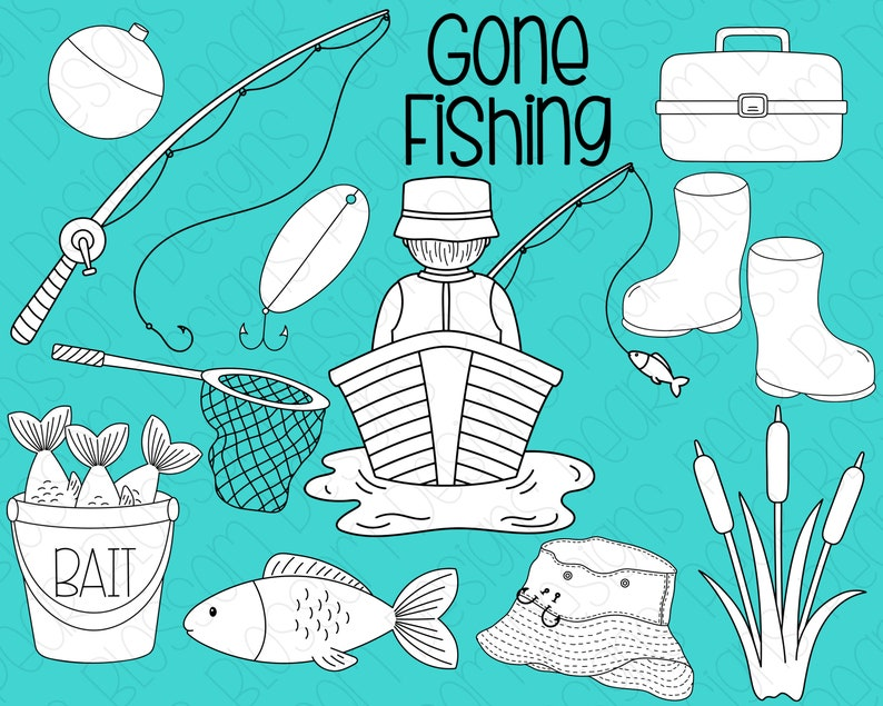Gone Fishing Digital Stamp Digistamp Clipart  Fisherman image 0