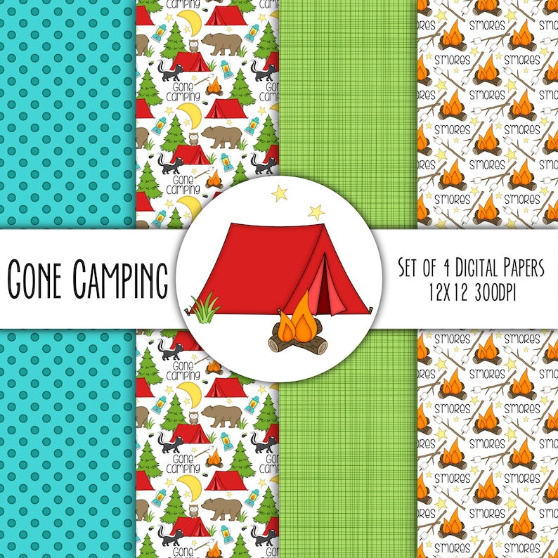 Gone Camping Hand Drawn Digital Paper Mini Pack  Set of 4  image 0