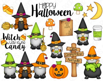 Halloween Gnome Witches Clipart Set - Hand Drawn Digital Clipart - Gnomes, Witch, Halloween Gnomes - Item# 9235