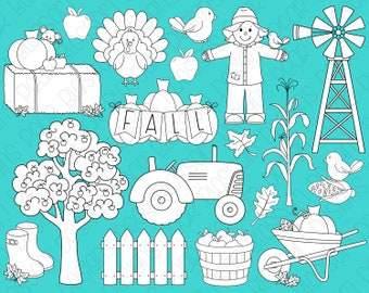 Fall Farm Digital Stamps, Digistamps, Clipart - Instant Download - 7101